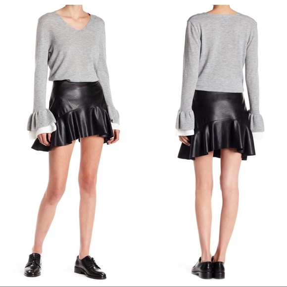 discount great deals on fashion 2019 best Lea & Viola Black Faux Leather Ruffle Mini Skirt NWT